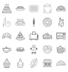 Biscuit icons set outline style vector