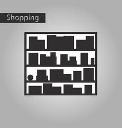 Black and white style icon bookshelf vector