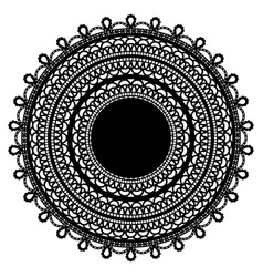 Black lace doily isolated on white background vector