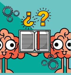 brains cartoon creative idea book learning vector image