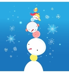 Bright funny snowman vector