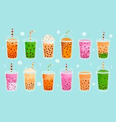 bubble milk tea pearl milk tea matcha milk vector image