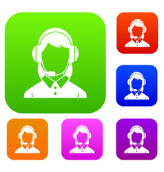 business woman with headset set collection vector image