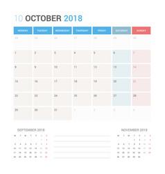 calendar planner for october 2018 vector image vector image