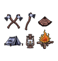 Camping vacation objects se vector