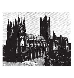 Canterbury cathedral front view vintage engraving vector
