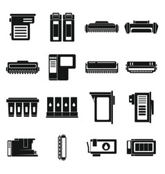 Cartridge toner icons set simple style vector