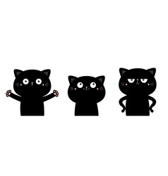 Cat set funny kitten kitty giving a hug angry vector