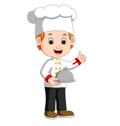 Chef boy holding plate dish vector