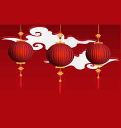 chinese red lanterns hanging vector image