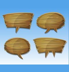comic wood speech bubbles set vector image