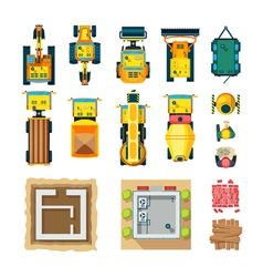 Construction Icons Set Top View vector image