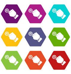cursor hand click icons set 9 vector image