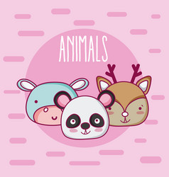 Cute animals friends cartoon vector