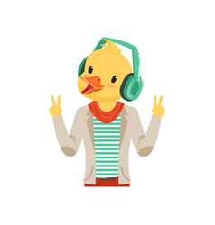 Cute fashion duck chick guy character listening vector