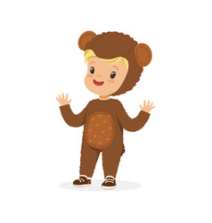 cute happy boy dressed as a bear kids carnival vector image