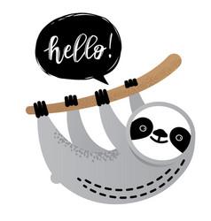Cute sloth bear animal says hello vector