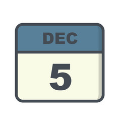 December 5th date on a single day calendar vector