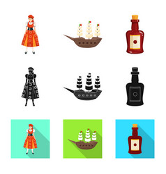 Design and historic icon collection of vector