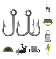 Design of fish and fishing symbol vector