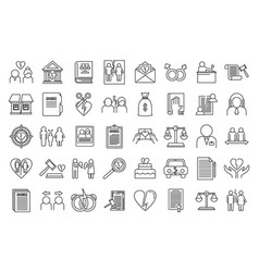 Divorce separation icons set outline style vector