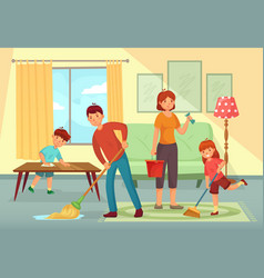 family cleaning house father mother and kids vector image