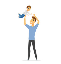 father playing with son - cartoon people vector image