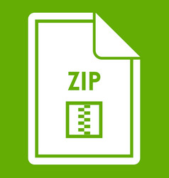 file zip icon green vector image