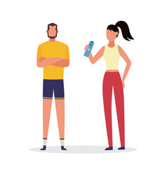 fitness trainer and client in sport clothes vector image