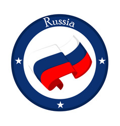 Flag of russia on a label vector