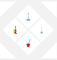 flat icon cleaner set of cleaning broomstick mop vector image