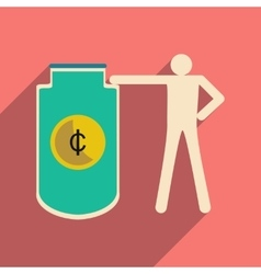 Flat with shadow icon man and purse for coins vector