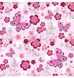 Floral butterfly pattern vector