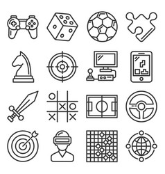 game and entertainment icons set on white vector image