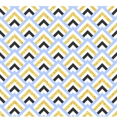 Geometric blue black and gold glittering seamless vector