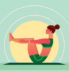 girl sitting in yoga boat pose or navasana vector image