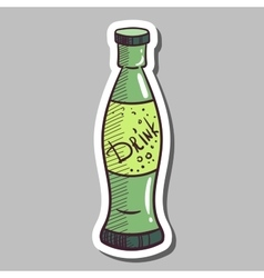 Glass Bottle With Drink Sticker vector image