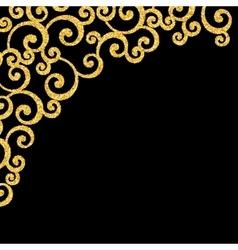 Gold glitter curl invitation card vector