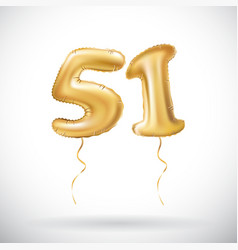 golden number 51 fifty one metallic balloon party vector image