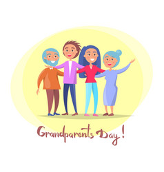 Grandparents day poster senior couple and children vector
