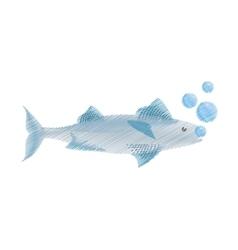hand drawing mackerel fish sea life bubbles vector image