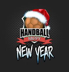Handball ball with santa hat and happy new year vector