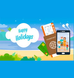 happy holidays lettering on cartoon travel banner vector image