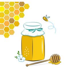 honey jar honeycomb and bee honey in jar with vector image