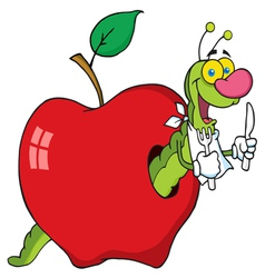 hungry worm in a red apple vector image