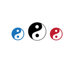Icons of yin yang masculine head and vector