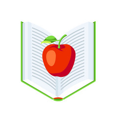 isometric icon book with apple vector image