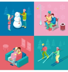 Isometric Winter People Skiing Couple and Snowman vector image