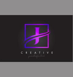 J purple violet letter logo design with square vector