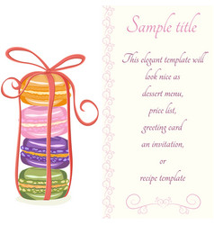 Macaroons invitation card template vector